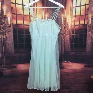 Vintage Chiffon Nitie Light Blue Nightgown M